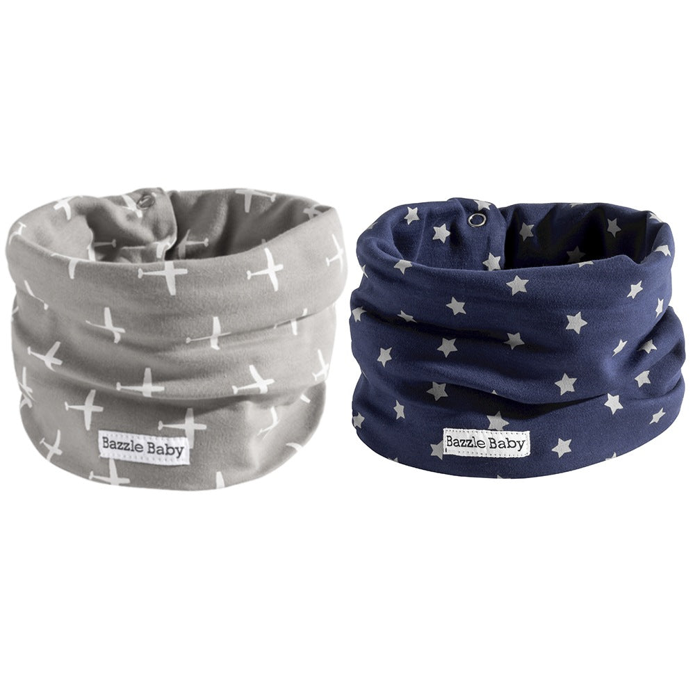 "<b><font color=""#0c899e"">New!</b></br></font color>Grey Airplanes & Navy Galaxy Infinity Scarf BandoBib"