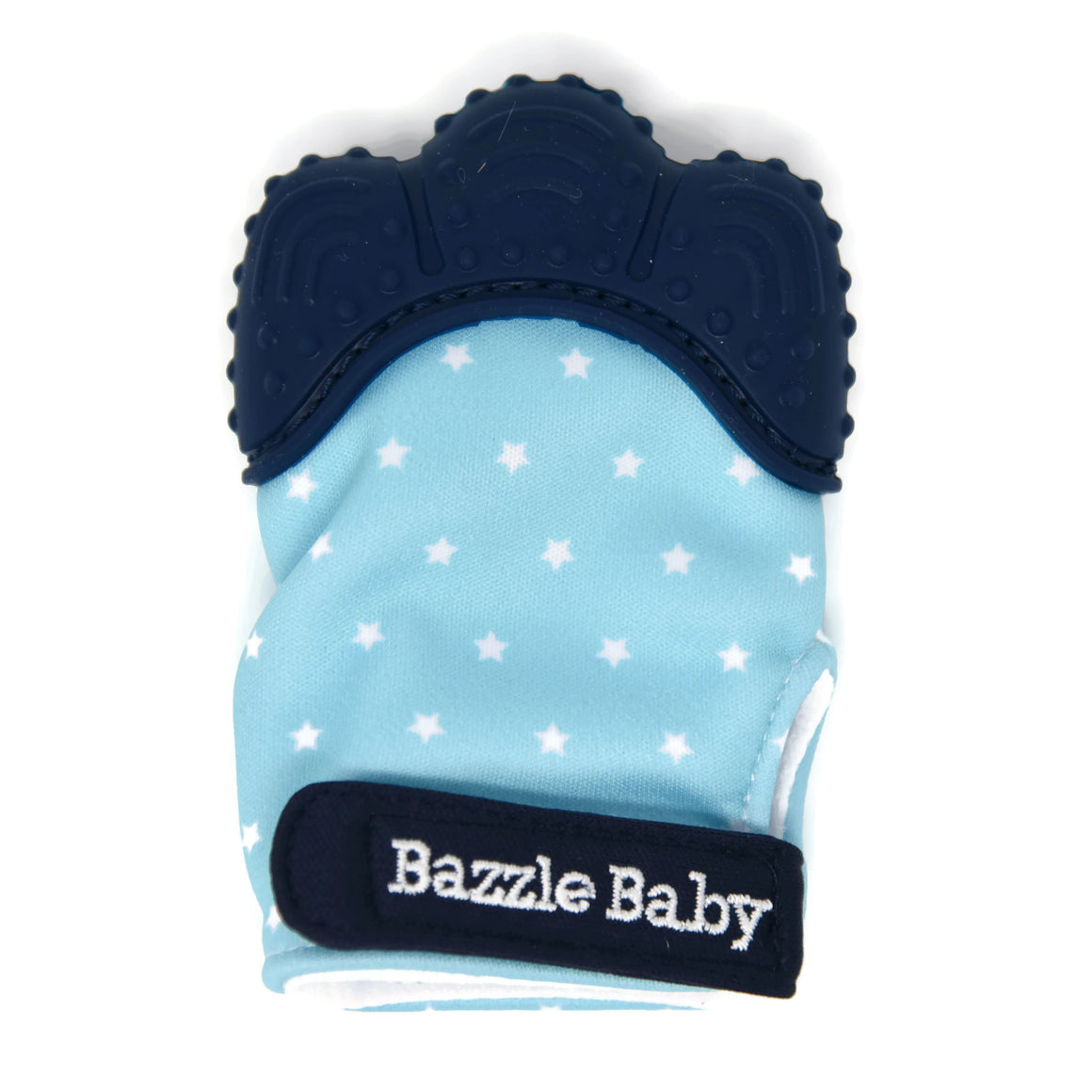 Baby girl wearing the Star on Pink Chew Mitt. Bazzle Baby Chew Mitt is a BPA free, silicone soother mitt to help provide natural pain relief. The bodyof the mitt is polyester and has a crinkly texture to add additional stimulation for baby. Adjustable velcro allows the bib to grow with baby, and keeps the mitt from falling off baby's hand to help keep it clean. Designed for baby girls. Style includes a pink shaft with white stars and grey silicone top and velcro strap.
