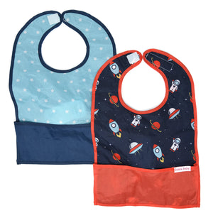 2-pack Bazzle Baby GoBib called Space Out. The only travel bib that folds into itself. Bazzle Baby GoBibs clip to bags and strollers. Bottom pocket catches all the mess. Made of nylon to prevent stains and soak-through. Adjustable velcro allows the bib to grow with baby. Designed for baby boys. Style includes a blue galaxy with white stars and a navy blue with astronauts, rockets and UFOs.