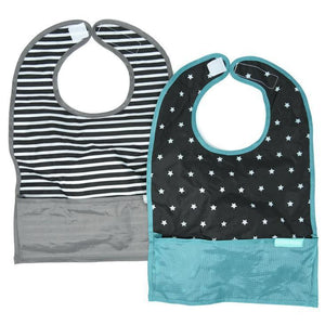 The only travel bib that folds into itself. Bazzle Baby GoBibs clip to bags and strollers. Bottom pocket catches all the mess. Made of nylon to prevent stains and soak-through. Adjustable velcro allows the bib to grow with baby. Designed for baby boy and baby girl. Style includes black and white stripes with a grey bottom pocket bib, and a black bib with white stars and teal bottom pocket bib.