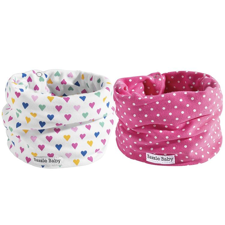 Colorful hearts and pink polka baby infinity scarf style drool bibs.