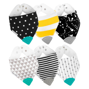 Black and white paint splatter, narrow arrows, black stripes, yellow chunky stripes, black stars and grey triangles bandana bib teethers.