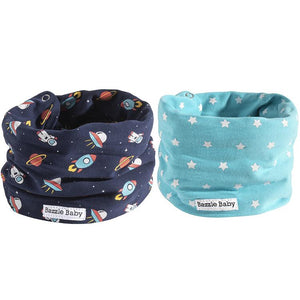 Outer space and stars blue baby infinity scarf style drool bibs.