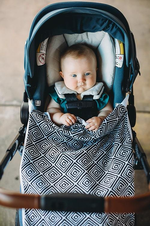 Bazzle Baby GoBlanket in black and white travel stroller blanket with clips and fuzzy fleece back.