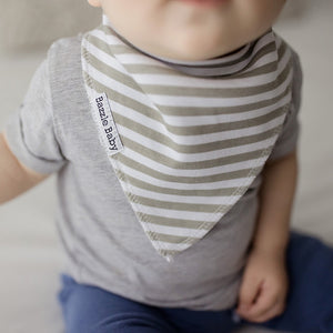 Bazzle Baby bandana drool bib with white and grey stripes.