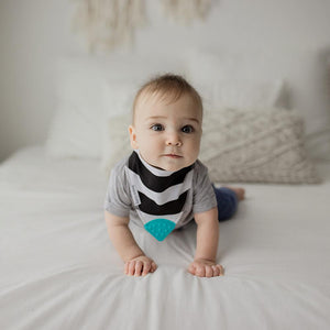 Bazzle Baby bandana drool bib black and white chunky stripes.