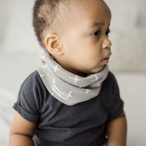 Bazzle Baby BandoBib infinity scarf drool bib. Grey with white airplanes.