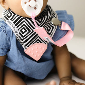 Bazzle Baby BandoBib infinity scarf drool bib. Black and white diamonds.