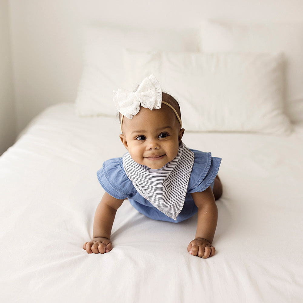Bazzle Baby Bandana Bibs in grey, black stripes and white.