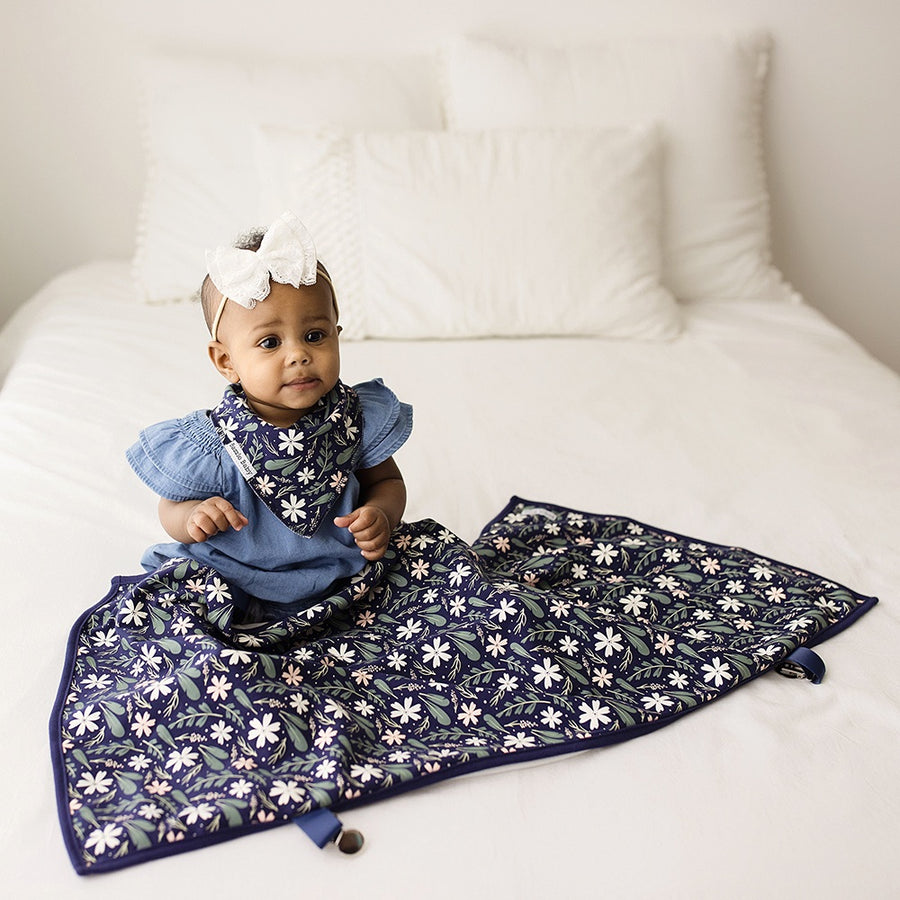 Navy Floral Clip on GoBlanket
