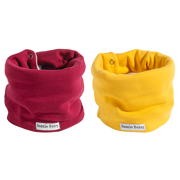 Mustard and cranberry baby infinity scarf style drool bib with fleece for added warmth.