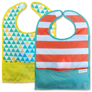 The only travel bib that folds into itself. Bazzle Baby GoBibs clip to bags and strollers. Bottom pocket catches all the mess. Made of nylon to prevent stains and soak-through. Adjustable velcro allows the bib to grow with baby. Designed for boys and girls. Style includes teal and yellow triangles and white and orange stripes.