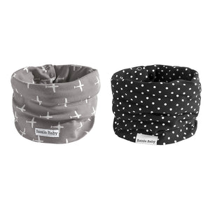 Bazzle Baby BandoBibs in grey airplanes and black and white polka dots.