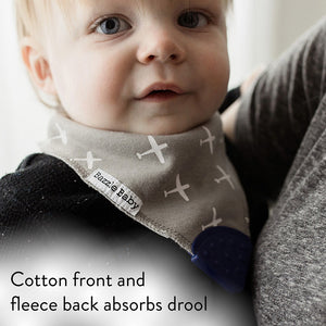 Grey with white airplanes bandana bib with teether.