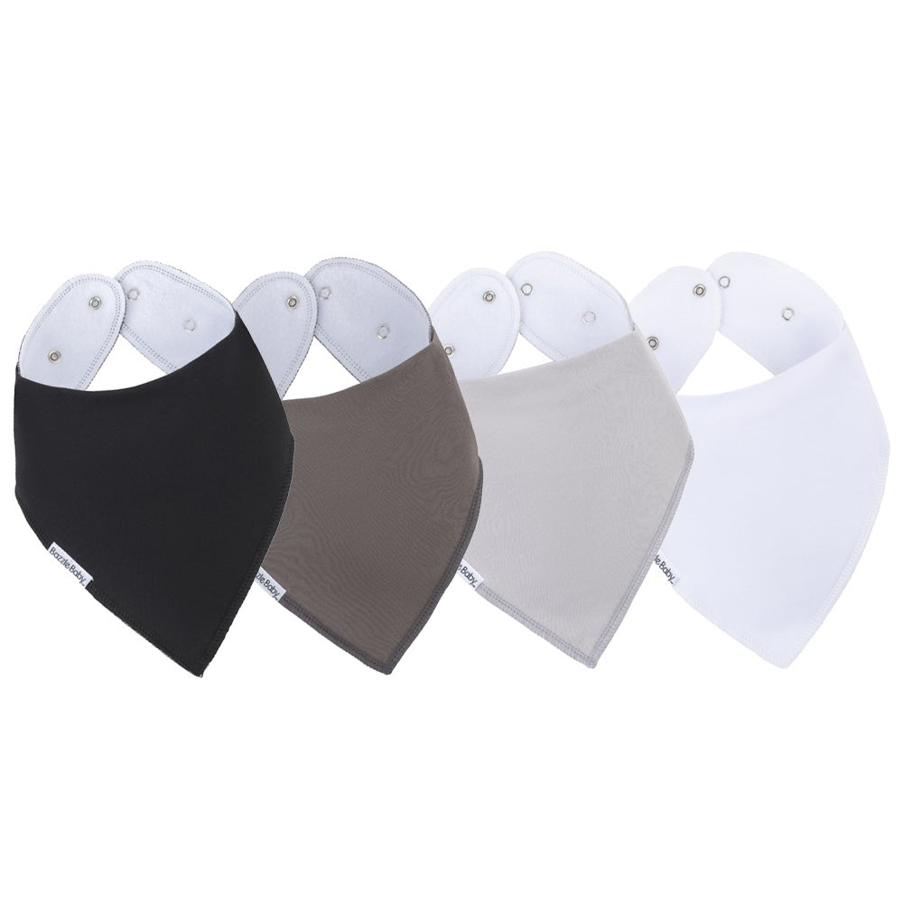 Bazzle Baby bandana bibs in black, grey and white.