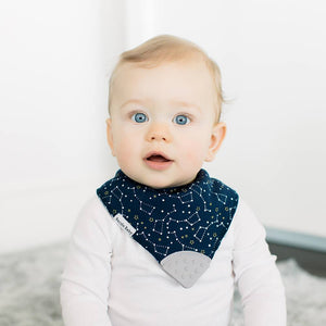 Bazzle Baby bandana bibs with teethers in dark blue with constellations.