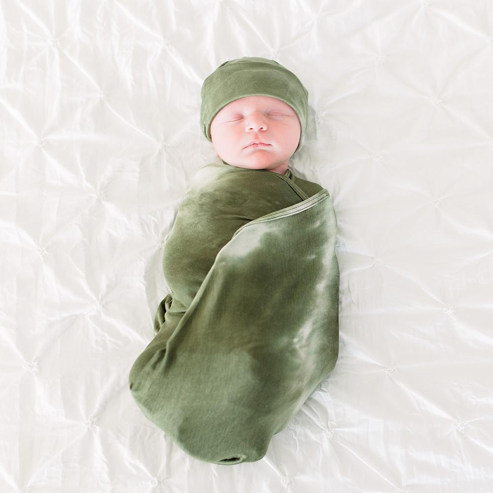 Olive Tie-Dye Swaddle and Hat Set