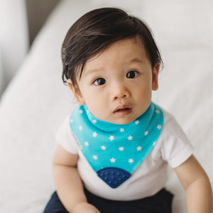 Blue stars bandana bibs and bandana bib teethers to help prevent drool from getting on clothes and to help provide natural teething pain relief.