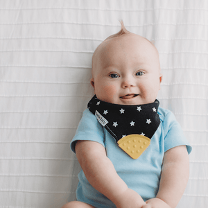 Black and white stars bandana bib teethers.