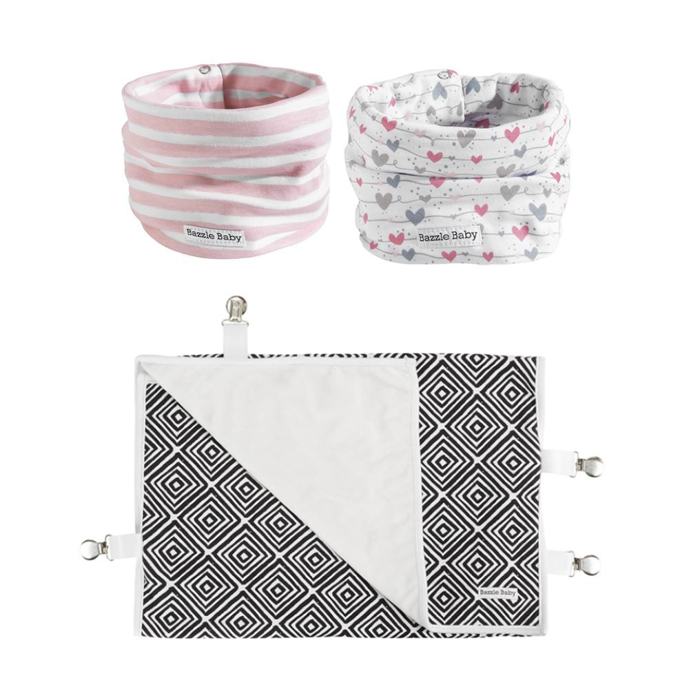 Wavy lines and hearts baby infinity scarf style drool bib and travel stroller blanket with clips.