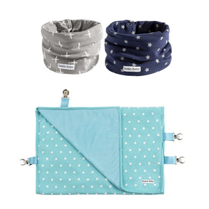 Grey airplanes and blue stars baby infinity scarf drool bibs and a travel stroller blanket with clips.