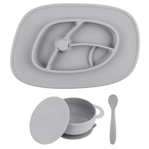 Cool Cement Bowl and Mat Anchor Feeding Set