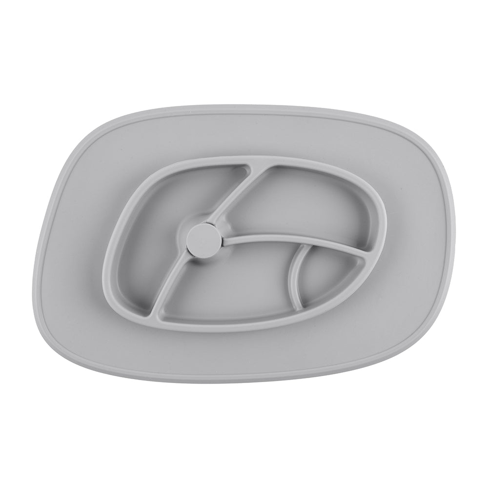 Bazzle Baby Anchor Silicone Mat in cement grey. Suctions to flat surfaces to not fall or slip.