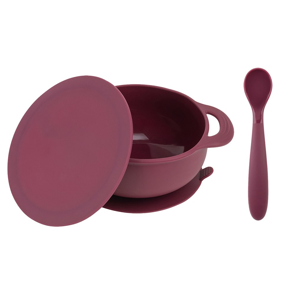 Bazzle Baby Anchor Silicone Bowl and Spoon Set in cranberry. Suctions to flat surfaces to not fall or slip. Silicone spoon can double as a teething spoon!