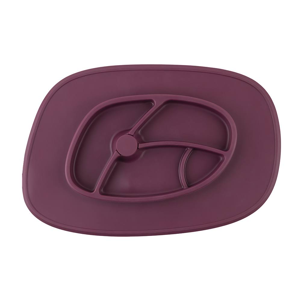 Bazzle Baby Anchor Silicone Mat in cranberry. Suctions to flat surfaces to not fall or slip.