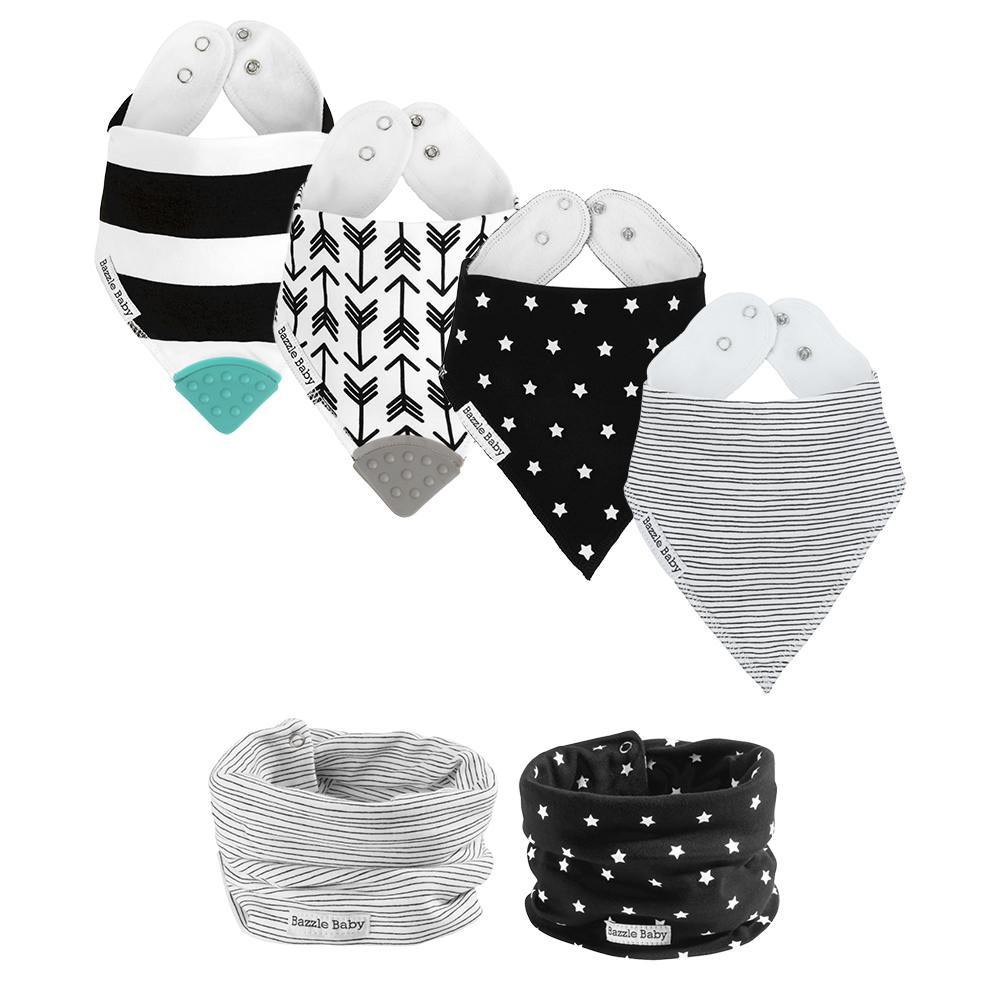 Bazzlebaby gift set includes bandana drool bibs, bandana drool bibs with teethers, and baby infinity scarf drool bibs.