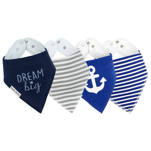 "Bazzle Baby Bandana Bibs with blue stripes, grey stripes, blue anchor and blue bib with ""dream big"" inscription."