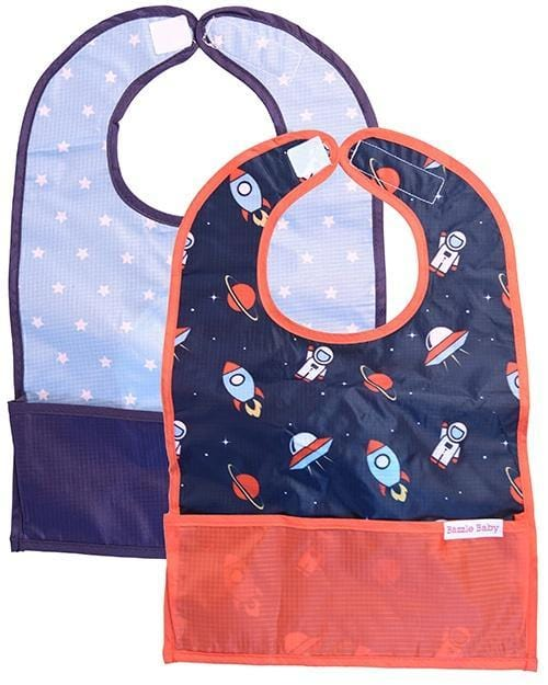 2-pack Bazzle Baby GoBib. The only travel bib that folds into itself. Bazzle Baby GoBibs clip to bags and strollers. Bottom pocket catches all the mess. Made of nylon to prevent stains and soak-through. Adjustable velcro allows the bib to grow with baby. Designed for baby boys. Style includes blue galaxy travel bib and a space out travel bib.