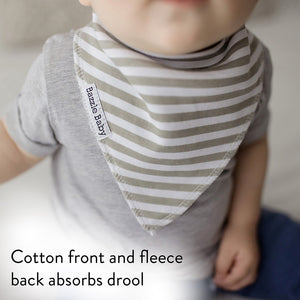 Grey and white stripe bandana bib with cotton and fleece to absorb drool.