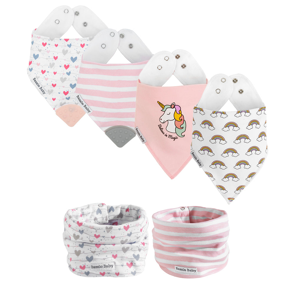 Bazzlebaby gift set includes bandana drool bibs, bandana drool bibs with teethers, and baby infinity scarf style drool bibs.