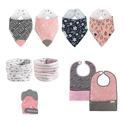 Bazzlebaby gift set includes bandana drool bibs, bandana drool bibs with teethers, infinity scarf style drool bibs, travel bibs, and chew mittens.
