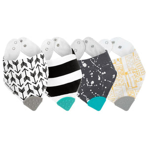 Four bandana bibs with teethers in chunk arrows, chunky stripes, cityscape and splatter. Unisex.