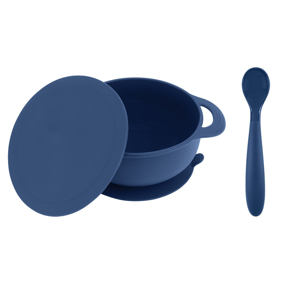 Bazzle Baby Anchor Silicone Bowl and Spoon Set in navy. Suctions to flat surfaces to not fall or slip. Silicone spoon can double as a teething spoon!