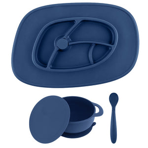 Neat in Navy Bowl and Mat Anchor Feeding Set
