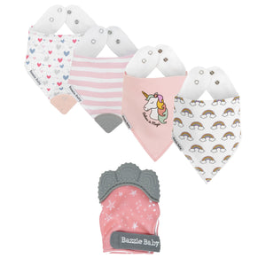 Bazzlebaby gift set includes bandana bibs, bandana bibs with teethers and teething mitten.