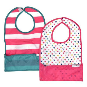 The only travel bib that folds into itself. Bazzlebaby GoBibs clip to bags and strollers. Bottom pocket catches all the mess. Made of nylon to prevent stains and soak-through. Adjustable velcro allows the bib to grow with baby. Designed for baby girls. Style includes pink and whit chunky striped travel bib and a white with colorful hearts travel bib.