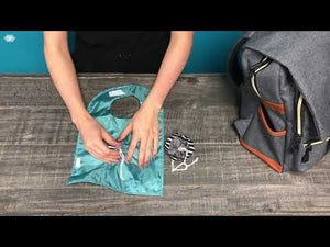Teal Triangles & Chunky Stripes Travel GoBib