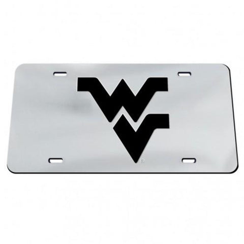 FLYING WV LICENSE PLATE CHROME W/ BLACK WV