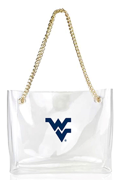 CLEAR HAND BAG WITH GOLD CHAIN
