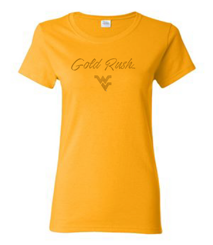 WVU Ladies Cotton Gold Rush Bling T-Shirt