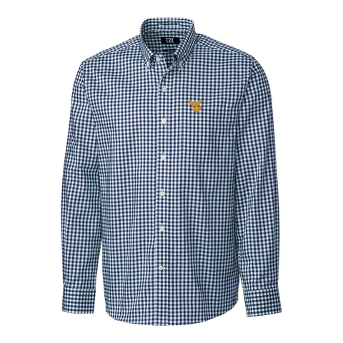 CUTTER & BUCK WVU LEAGUE GINGHAM L/S SHIRT