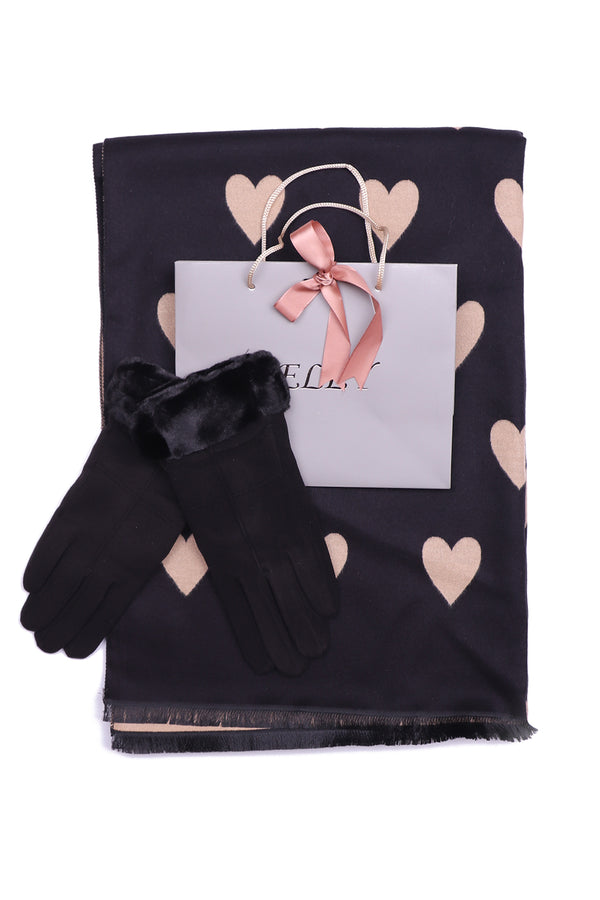 Hearts Wrap and Glove Gift Set