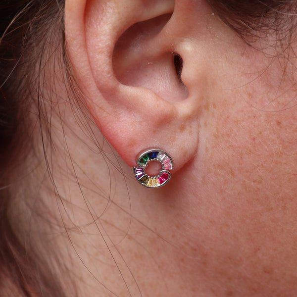 Circular Crystal Rainbow Earrings