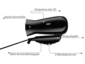 Secadora para Cabello de Mango Plegable. / Folding Mango Hair Dryer.