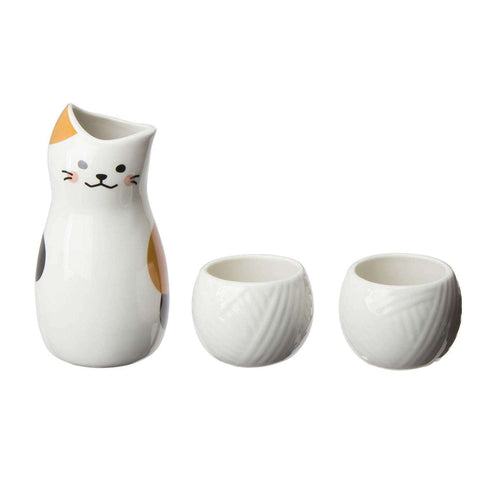 neco CAT Japanese Sake Set 1 Pot and 2 Cups:SAKEMON