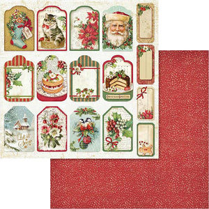 "Stamperia Double-Sided Cardstock 12""X12"" - Christmas Vintage Tags & Labels"